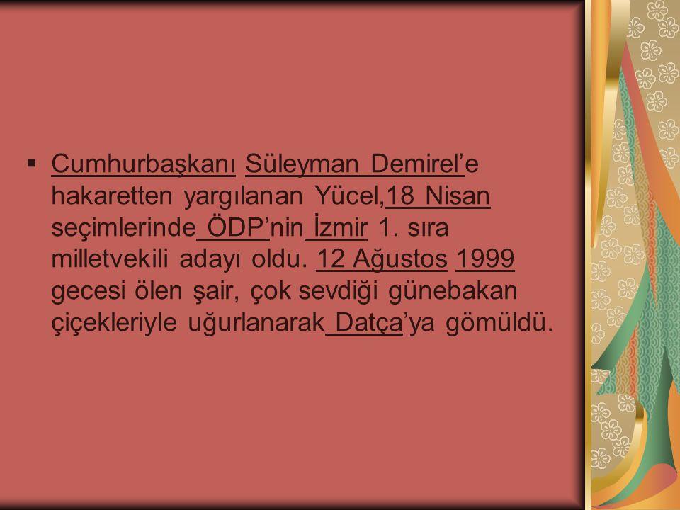  Cumhurbaşkanı Süleyman Demirel'e hakaretten yargılanan Yücel,18 Nisan seçimlerinde ÖDP'nin İzmir 1. sıra milletvekili adayı oldu. 12 Ağustos 1999 ge