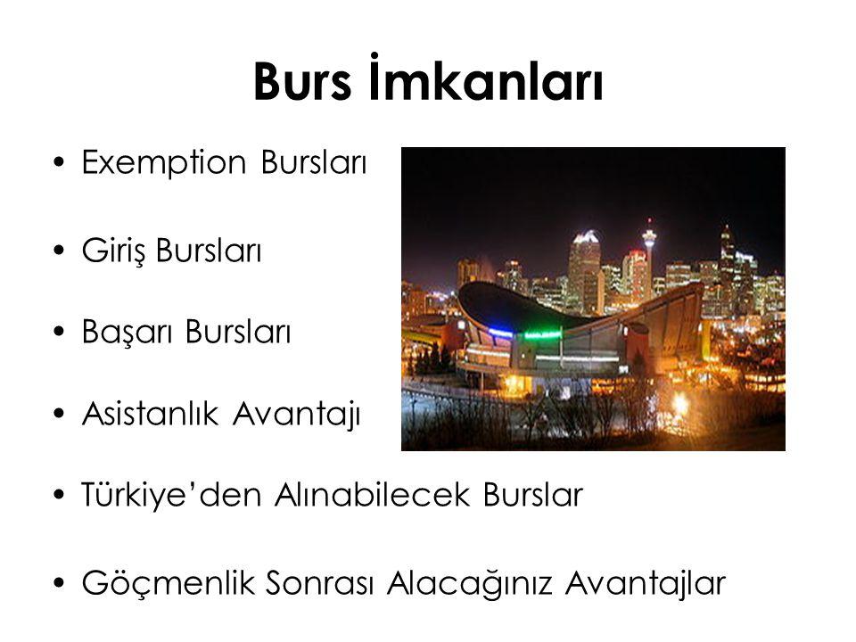 Burs İmkanları Exemption Bursları Giriş Bursları Başarı Bursları Asistanlık Avantajı Türkiye'den Alınabilecek Burslar Göçmenlik Sonrası Alacağınız Ava