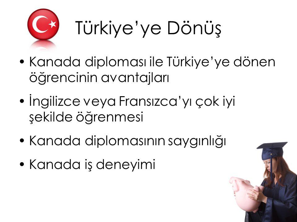 Türkiye'ye Dönüş Kanada diploması ile Türkiye'ye dönen öğrencinin avantajları İngilizce veya Fransızca'yı çok iyi şekilde öğrenmesi Kanada diplomasını