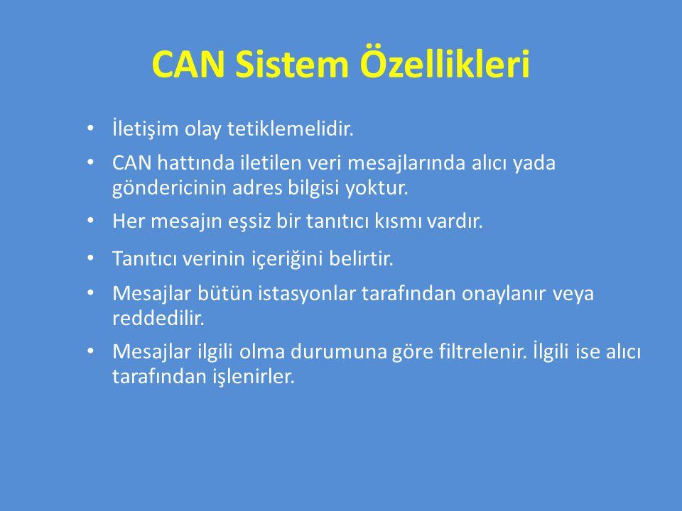 CAN Sistem Özellikleri İletişim olay tetiklemelidir.