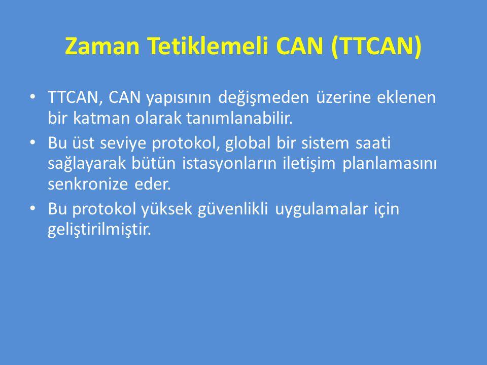 Zaman Tetiklemeli CAN (TTCAN) TTCAN, CAN yapısının değişmeden üzerine eklenen bir katman olarak tanımlanabilir. Bu üst seviye protokol, global bir sis