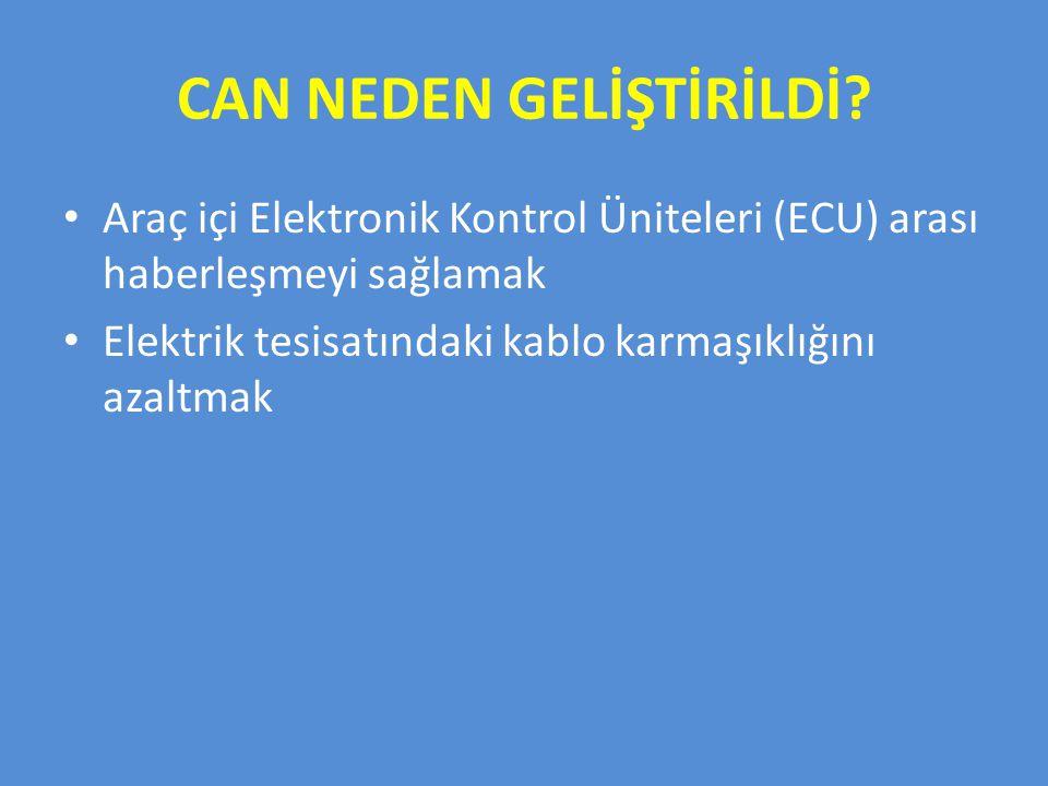 CAN NEDEN GELİŞTİRİLDİ? Araç içi Elektronik Kontrol Üniteleri (ECU) arası haberleşmeyi sağlamak Elektrik tesisatındaki kablo karmaşıklığını azaltmak
