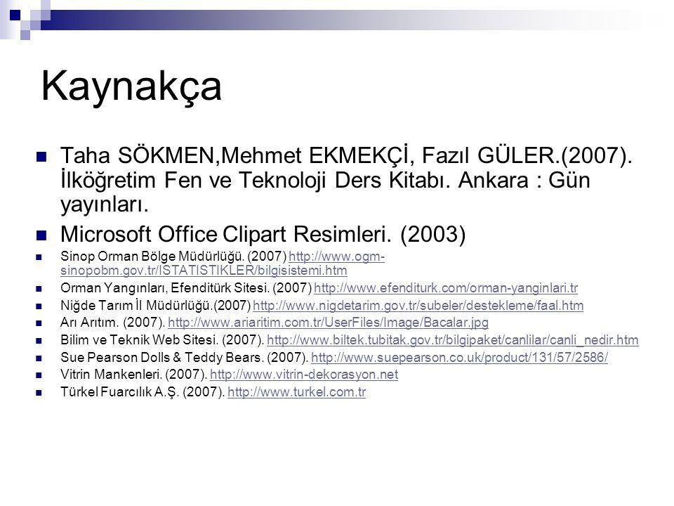 Kaynakça Taha SÖKMEN,Mehmet EKMEKÇİ, Fazıl GÜLER.(2007). İlköğretim Fen ve Teknoloji Ders Kitabı. Ankara : Gün yayınları. Microsoft Office Clipart Res