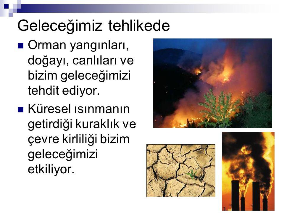 Geleceğimiz tehlikede Orman yangınları, doğayı, canlıları ve bizim geleceğimizi tehdit ediyor. Küresel ısınmanın getirdiği kuraklık ve çevre kirliliği