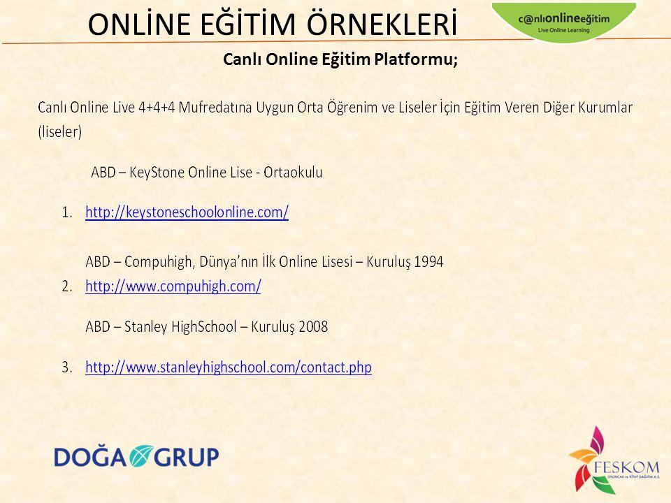 ONLİNE EĞİTİM ÖRNEKLERİ Canlı Online Eğitim Platformu;