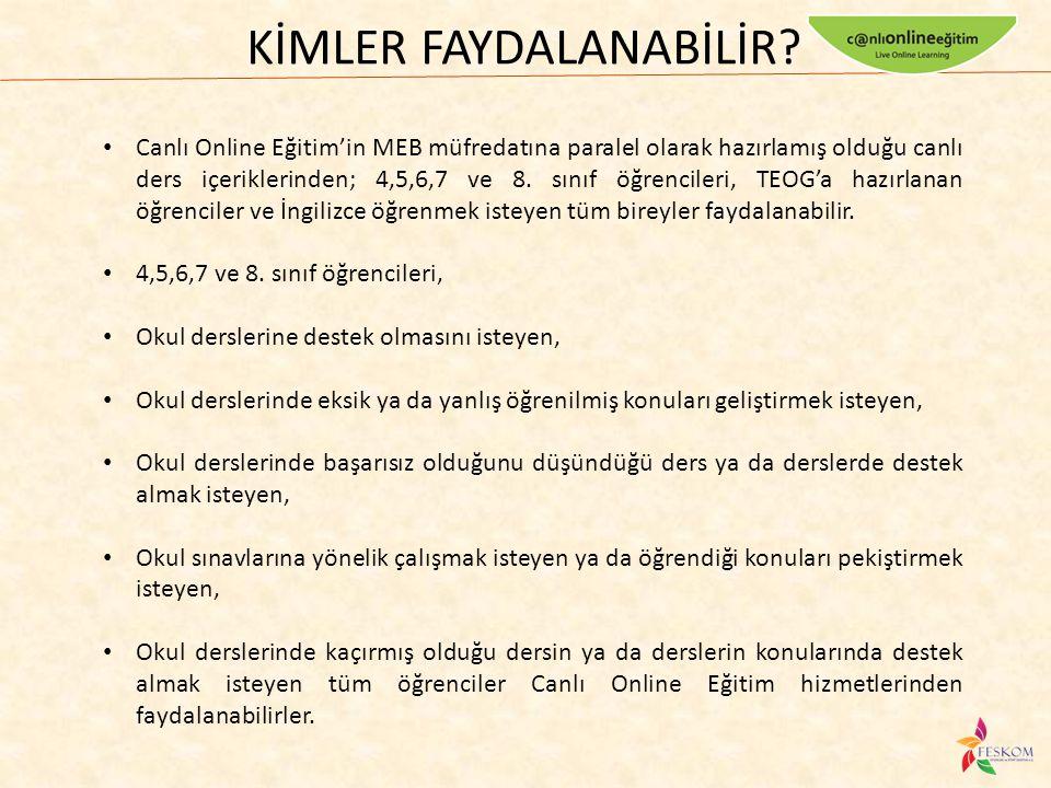 Canlı Online Eğitim'in MEB müfredatına paralel olarak hazırlamış olduğu canlı ders içeriklerinden; 4,5,6,7 ve 8. sınıf öğrencileri, TEOG'a hazırlanan