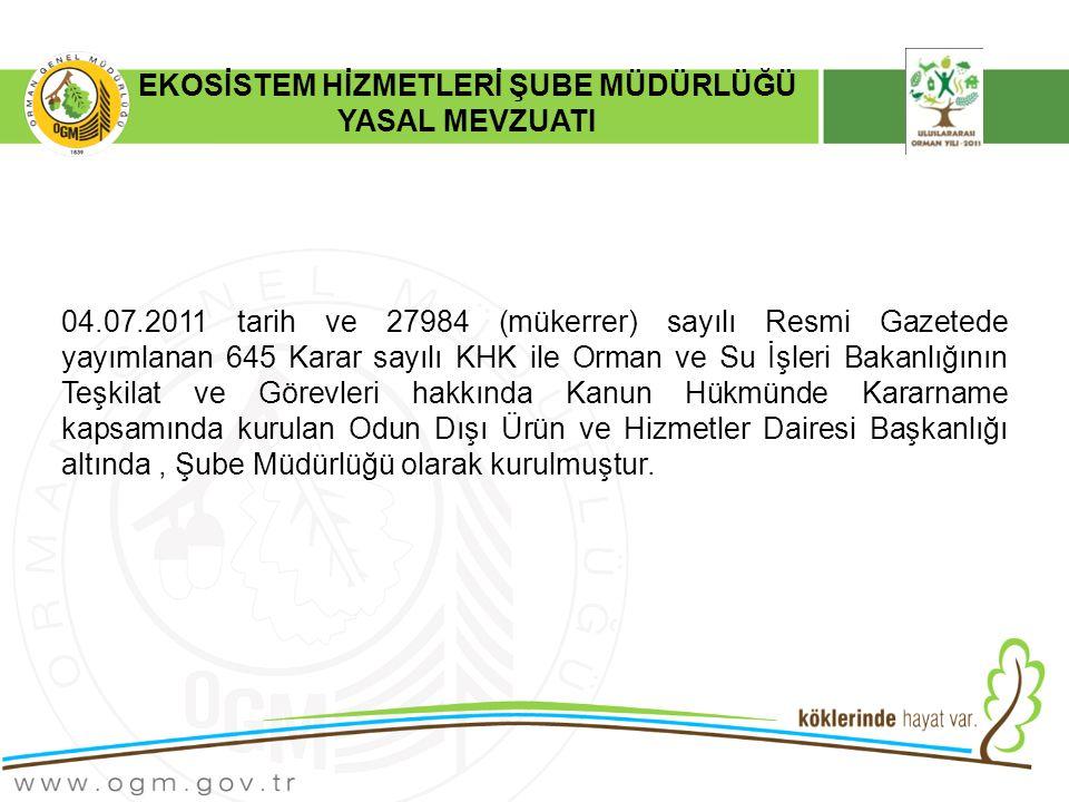 EKOSİSTEM HİZMETLERİ ŞUBE MÜDÜRLÜĞÜ YASAL MEVZUATI 04.07.2011 tarih ve 27984 (mükerrer) sayılı Resmi Gazetede yayımlanan 645 Karar sayılı KHK ile Orman ve Su İşleri Bakanlığının Teşkilat ve Görevleri hakkında Kanun Hükmünde Kararname kapsamında kurulan Odun Dışı Ürün ve Hizmetler Dairesi Başkanlığı altında, Şube Müdürlüğü olarak kurulmuştur.