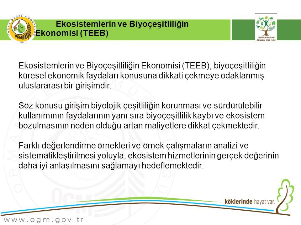 Ekosistemlerin ve Biyoçeşitliliğin Ekonomisi (TEEB) Ekosistemlerin ve Biyoçeşitliliğin Ekonomisi (TEEB), biyoçeşitliliğin küresel ekonomik faydaları konusuna dikkati çekmeye odaklanmış uluslararası bir girişimdir.