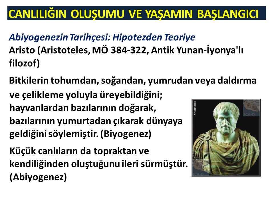 CANLILIĞIN OLUŞUMU VE YAŞAMIN BAŞLANGICI Abiyogenezin Tarihçesi: Hipotezden Teoriye Aristo (Aristoteles, MÖ 384-322, Antik Yunan-İyonya'lı filozof) Bi