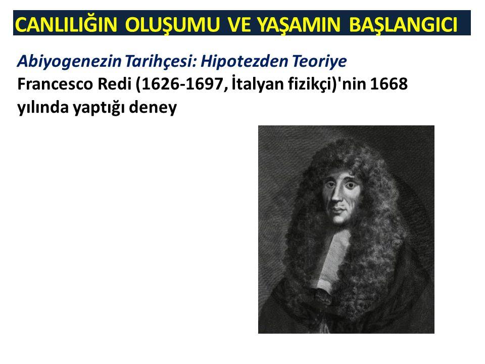 CANLILIĞIN OLUŞUMU VE YAŞAMIN BAŞLANGICI Abiyogenezin Tarihçesi: Hipotezden Teoriye Francesco Redi (1626-1697, İtalyan fizikçi)'nin 1668 yılında yaptı