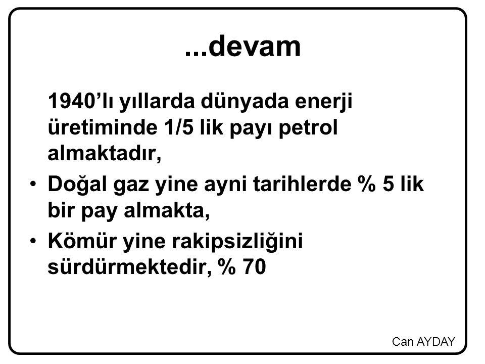 Can AYDAY...devam 1940'lı yıllarda dünyada enerji üretiminde 1/5 lik payı petrol almaktadır, Doğal gaz yine ayni tarihlerde % 5 lik bir pay almakta, Kömür yine rakipsizliğini sürdürmektedir, % 70
