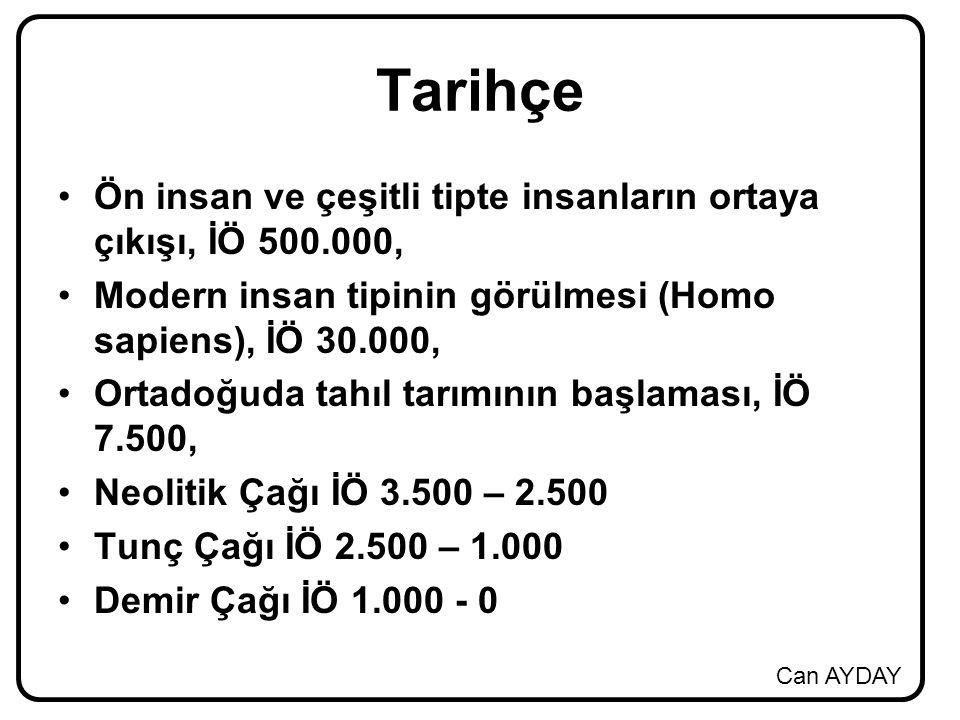 Can AYDAY Tarihçe Ön insan ve çeşitli tipte insanların ortaya çıkışı, İÖ 500.000, Modern insan tipinin görülmesi (Homo sapiens), İÖ 30.000, Ortadoğuda tahıl tarımının başlaması, İÖ 7.500, Neolitik Çağı İÖ 3.500 – 2.500 Tunç Çağı İÖ 2.500 – 1.000 Demir Çağı İÖ 1.000 - 0