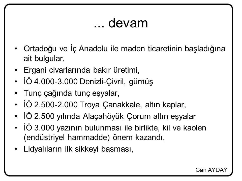 Can AYDAY... devam Ortadoğu ve İç Anadolu ile maden ticaretinin başladığına ait bulgular, Ergani civarlarında bakır üretimi, İÖ 4.000-3.000 Denizli-Çi