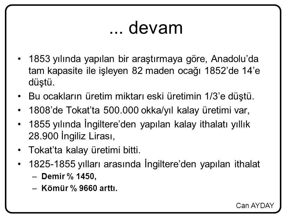 Can AYDAY... devam 1853 yılında yapılan bir araştırmaya göre, Anadolu'da tam kapasite ile işleyen 82 maden ocağı 1852'de 14'e düştü. Bu ocakların üret