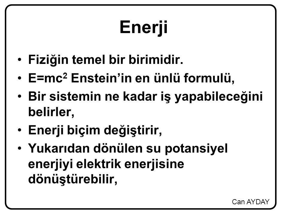 Can AYDAY Enerji Fiziğin temel bir birimidir. E=mc 2 Enstein'in en ünlü formulü, Bir sistemin ne kadar iş yapabileceğini belirler, Enerji biçim değişt