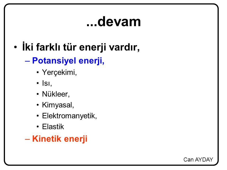 Can AYDAY...devam İki farklı tür enerji vardır, –Potansiyel enerji, Yerçekimi, Isı, Nükleer, Kimyasal, Elektromanyetik, Elastik –Kinetik enerji