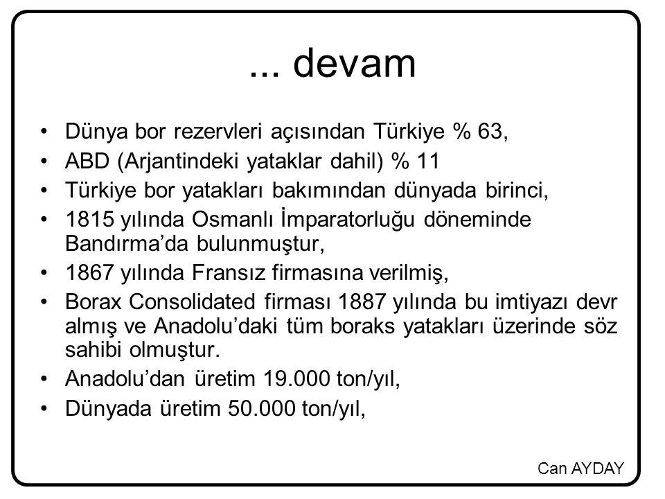 Can AYDAY... devam Dünya bor rezervleri açısından Türkiye % 63, ABD (Arjantindeki yataklar dahil) % 11 Türkiye bor yatakları bakımından dünyada birinc