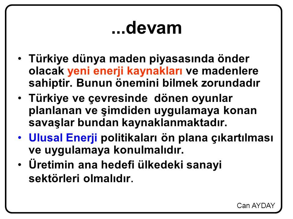 Can AYDAY...devam Türkiye dünya maden piyasasında önder olacak yeni enerji kaynakları ve madenlere sahiptir. Bunun önemini bilmek zorundadır Türkiye v