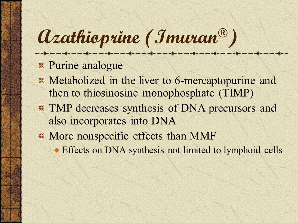 Mycophenolic acid Adverse Effects Gastrointestinal: Abdominal pain, gastritis, nausea, vomiting, diarrhea Dose related, increased incidence > 2g MMF/d