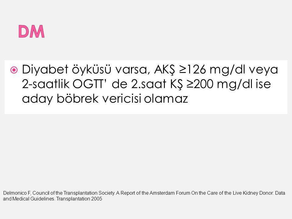  Diyabet öyküsü varsa, AKŞ ≥126 mg/dl veya 2-saatlik OGTT' de 2.saat KŞ ≥200 mg/dl ise aday böbrek vericisi olamaz Delmonico F, Council of the Transplantation Society.