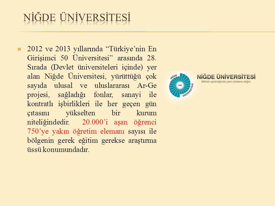  2012 ve 2013 yıllarında Türkiye'nin En Girişimci 50 Üniversitesi arasında 28.