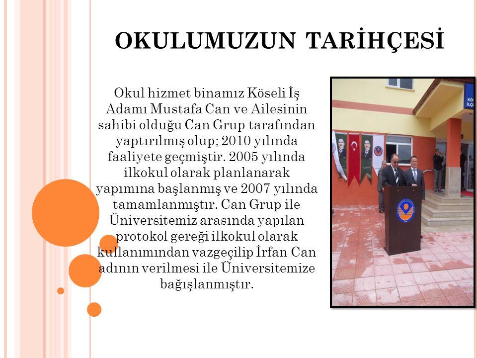 OKULUMUZUN TARİHÇESİ Okul hizmet binamız Köseli İş Adamı Mustafa Can ve Ailesinin sahibi olduğu Can Grup tarafından yaptırılmış olup; 2010 yılında faa