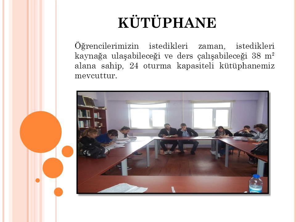 KÜTÜPHANE Öğrencilerimizin istedikleri zaman, istedikleri kaynağa ulaşabileceği ve ders çalışabileceği 38 m² alana sahip, 24 oturma kapasiteli kütüpha