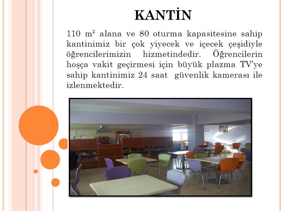KANTİN 110 m² alana ve 80 oturma kapasitesine sahip kantinimiz bir çok yiyecek ve içecek çeşidiyle öğrencilerimizin hizmetindedir.