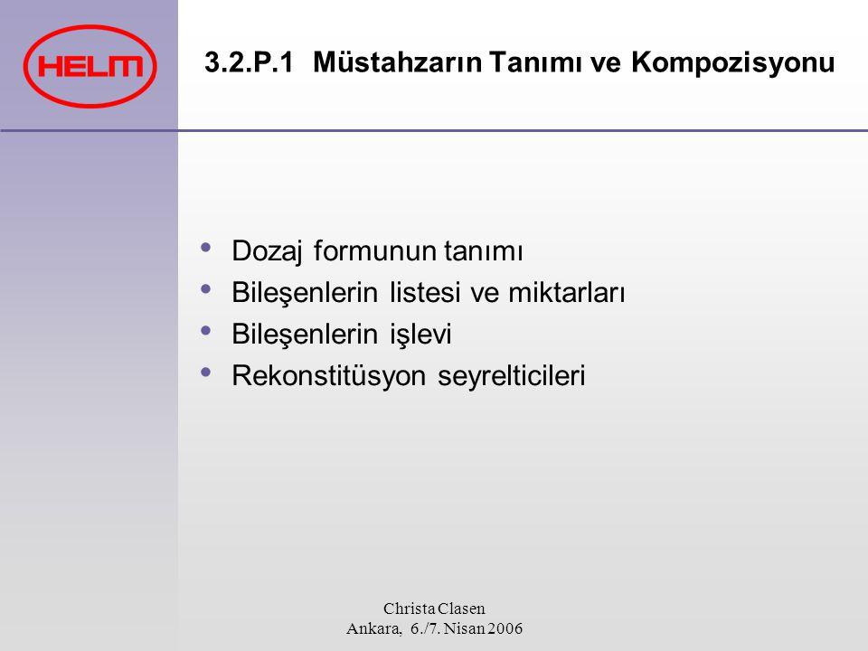 Christa Clasen Ankara, 6./7. Nisan 2006 3.2.P.1 Müstahzarın Tanımı ve Kompozisyonu Dozaj formunun tanımı Bileşenlerin listesi ve miktarları Bileşenler