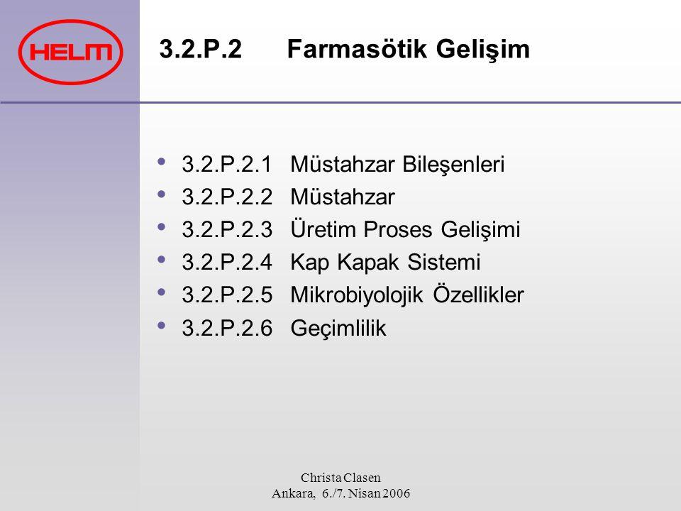 Christa Clasen Ankara, 6./7. Nisan 2006 3.2.P.2 Farmasötik Gelişim 3.2.P.2.1 Müstahzar Bileşenleri 3.2.P.2.2 Müstahzar 3.2.P.2.3 Üretim Proses Gelişim