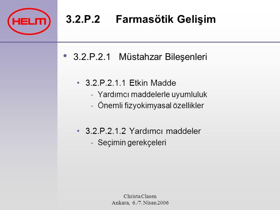 Christa Clasen Ankara, 6./7. Nisan 2006 3.2.P.2 Farmasötik Gelişim 3.2.P.2.1Müstahzar Bileşenleri 3.2.P.2.1.1 Etkin Madde -Yardımcı maddelerle uyumlul