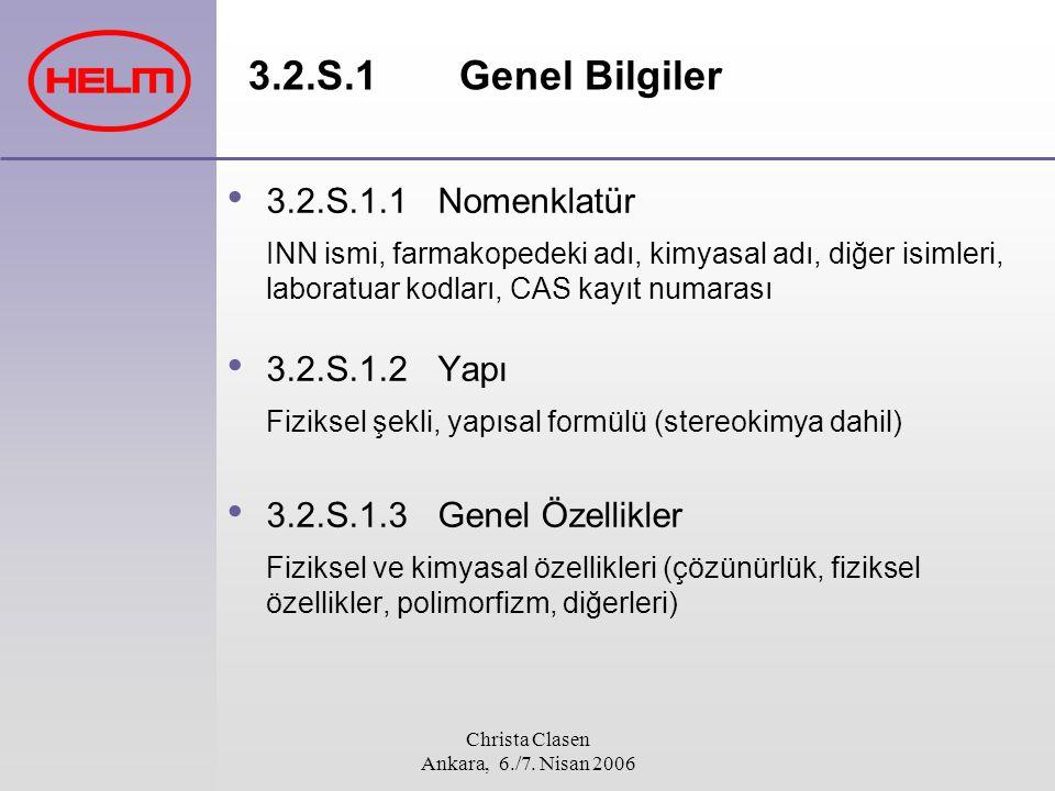 Christa Clasen Ankara, 6./7. Nisan 2006 3.2.S.1.1 Nomenklatür INN ismi, farmakopedeki adı, kimyasal adı, diğer isimleri, laboratuar kodları, CAS kayıt