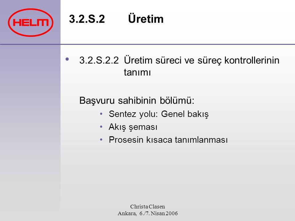 Christa Clasen Ankara, 6./7. Nisan 2006 3.2.S.2Üretim 3.2.S.2.2Üretim süreci ve süreç kontrollerinin tanımı Başvuru sahibinin bölümü: Sentez yolu: Gen