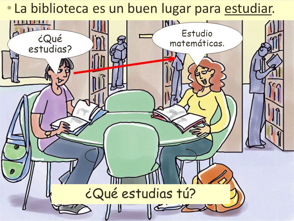 La biblioteca es un buen lugar para estudiar. ¿Qué estudias? Estudio matemáticas. ¿Qué estudias tú?