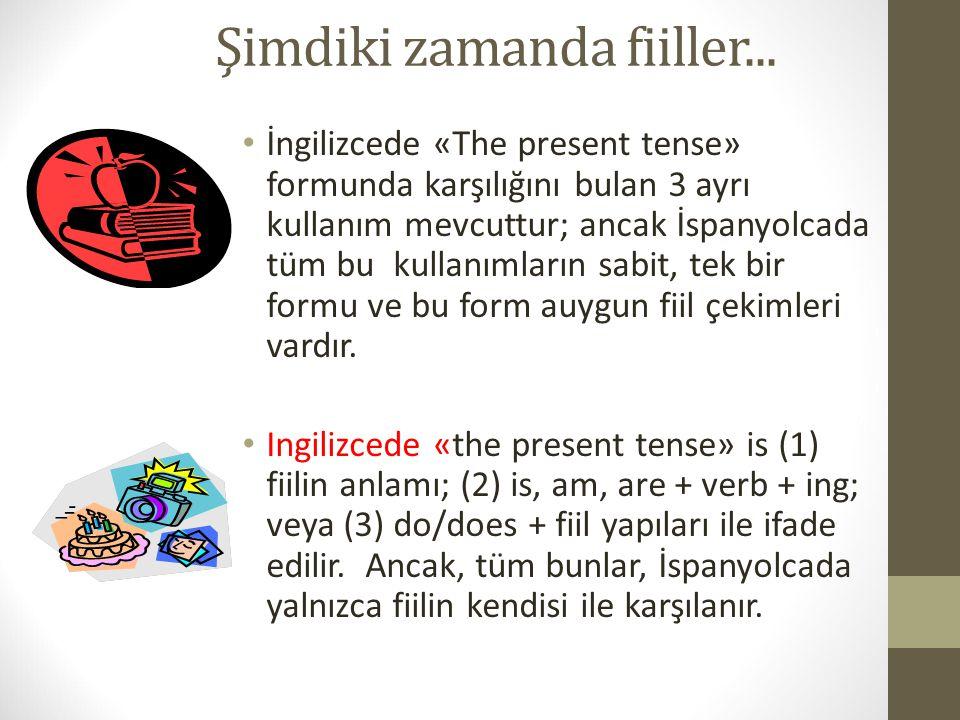 Şimdiki zamanda fiiller... İngilizcede «The present tense» formunda karşılığını bulan 3 ayrı kullanım mevcuttur; ancak İspanyolcada tüm bu kullanımlar