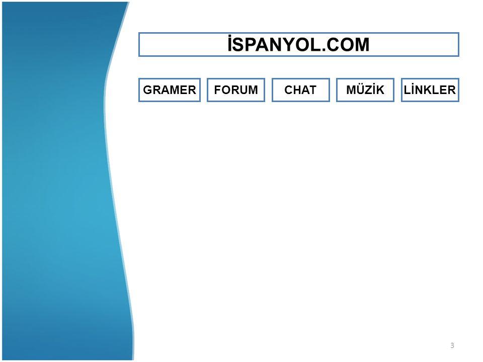 4 İSPANYOLCA GRAMER İSPANYOLCA KAYNAKLAR - Basit İspanyolca - Resimli İspanyolca - İspanyolca Gramer - İspanyolca Kelime - İspanyolca Foto Kelime - Qué Cómo Quién - İspanyolca Fiiller - İspanyolca Çeviri - İspanyolca Terimler - Basic Spanish - Ses Programları - Fiil Çekim Programı - İspanyolca Sözlük - İspanya Tur Bilgi - Karakter Programı - Saat Programı - Latin Amerika İspanya Notları - İspanyolca Kelime Oyunu - İspanyolca Türkçe Kelime Oyunu - İspanyolca Resimli Sözlük - İspanyolca Mobil Programlar İSPANYOL.COM GRAMER