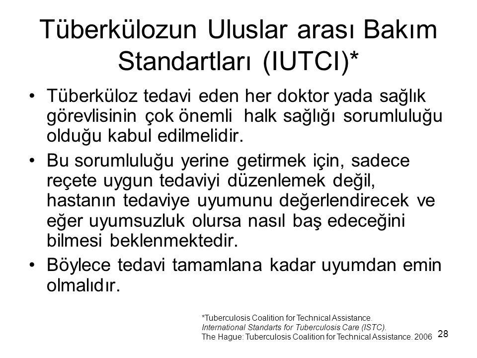 28 Tüberkülozun Uluslar arası Bakım Standartları (IUTCI)* Tüberküloz tedavi eden her doktor yada sağlık görevlisinin çok önemli halk sağlığı sorumlulu