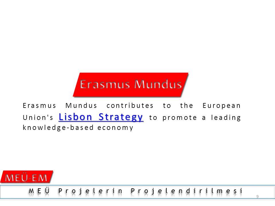 9 Lisbon StrategyLisbon Strategy Erasmus Mundus contributes to the European Union s Lisbon Strategy to promote a leading knowledge-based economy Lisbon Strategy