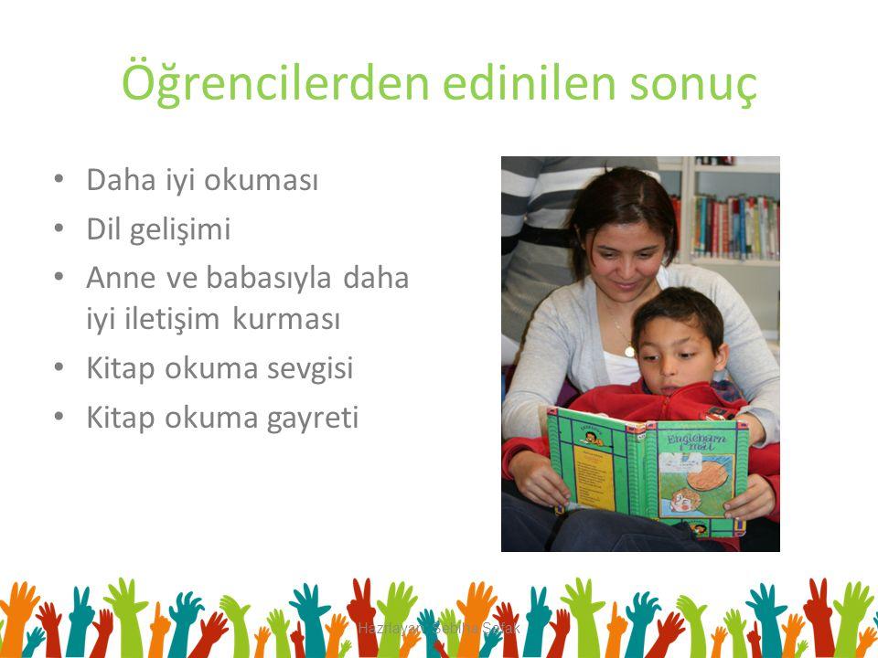 Öğrencilerden edinilen sonuç Daha iyi okuması Dil gelişimi Anne ve babasıyla daha iyi iletişim kurması Kitap okuma sevgisi Kitap okuma gayreti Hazrlay