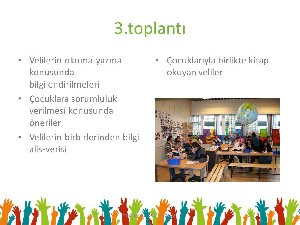 3.toplantı Velilerin okuma-yazma konusunda bilgilendirilmeleri Çocuklara sorumluluk verilmesi konusunda öneriler Velilerin birbirlerinden bilgi alis-v