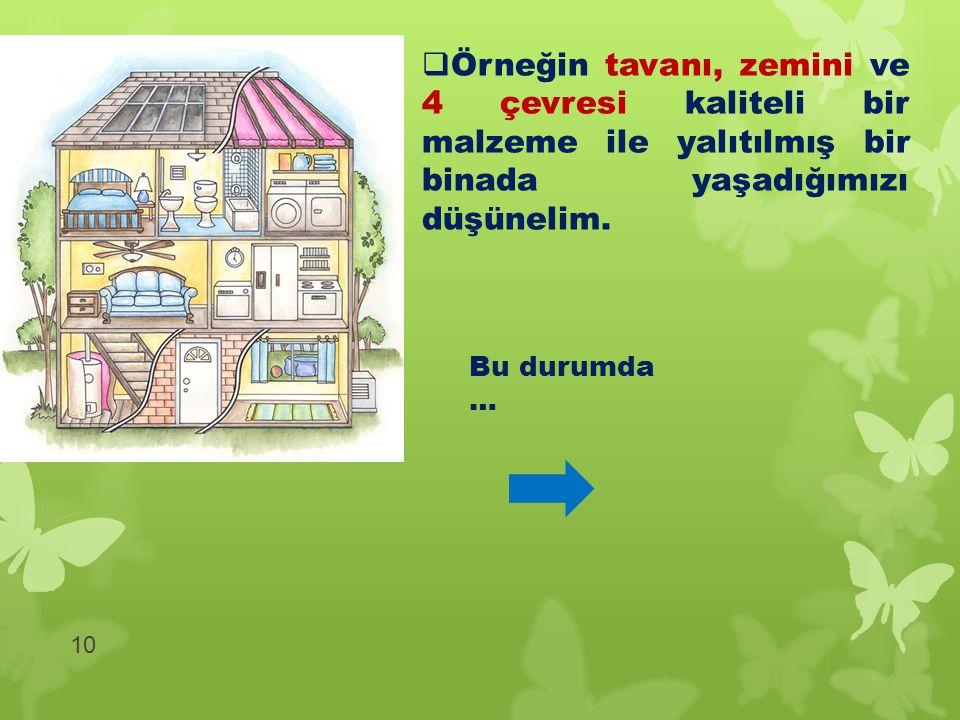  Örneğin tavanı, zemini ve 4 çevresi kaliteli bir malzeme ile yalıtılmış bir binada yaşadığımızı düşünelim. 10 Bu durumda …
