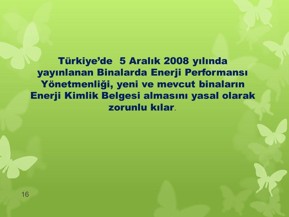 Türkiye'de 5 Aralık 2008 yılında yayınlanan Binalarda Enerji Performansı Yönetmenliği, yeni ve mevcut binaların Enerji Kimlik Belgesi almasını yasal o