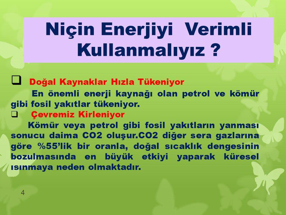 4  Doğal Kaynaklar Hızla Tükeniyor En önemli enerji kaynağı olan petrol ve kömür gibi fosil yakıtlar tükeniyor.  Çevremiz Kirleniyor Kömür veya petr
