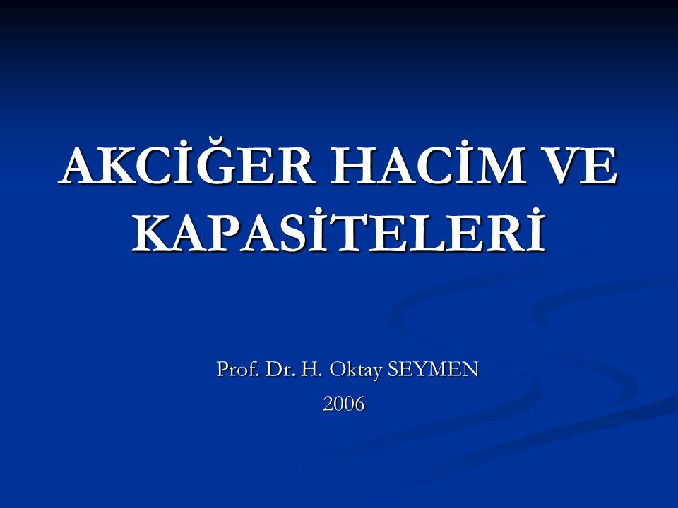AKCİĞER HACİM VE KAPASİTELERİ Prof. Dr. H. Oktay SEYMEN Prof. Dr. H. Oktay SEYMEN2006