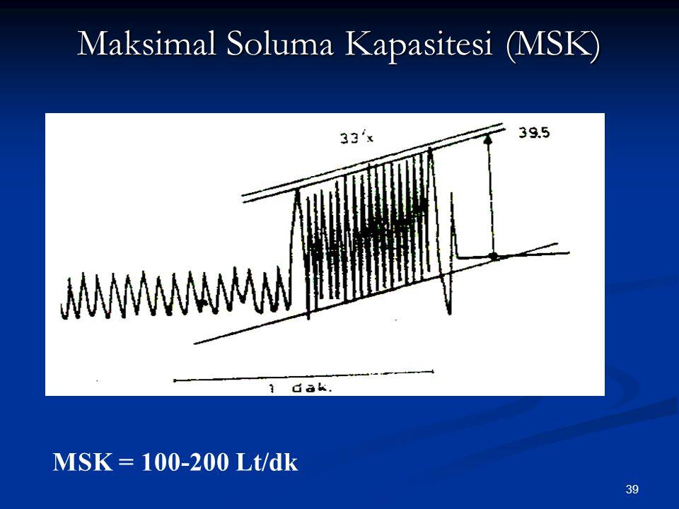 39 Maksimal Soluma Kapasitesi (MSK) MSK = 100-200 Lt/dk