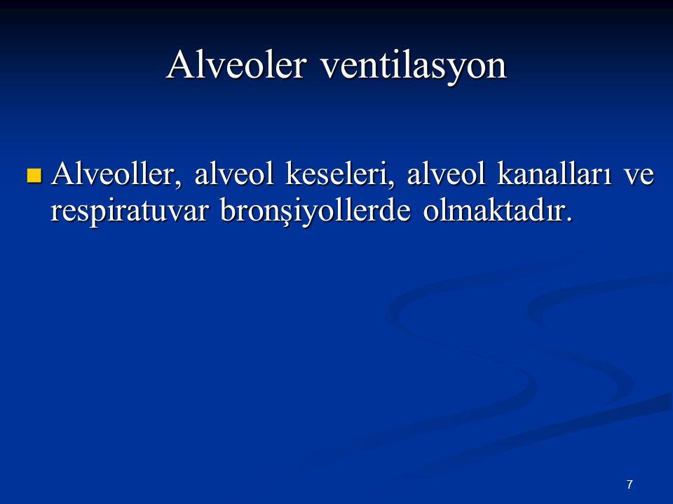 7 Alveoler ventilasyon Alveoller, alveol keseleri, alveol kanalları ve respiratuvar bronşiyollerde olmaktadır. Alveoller, alveol keseleri, alveol kana