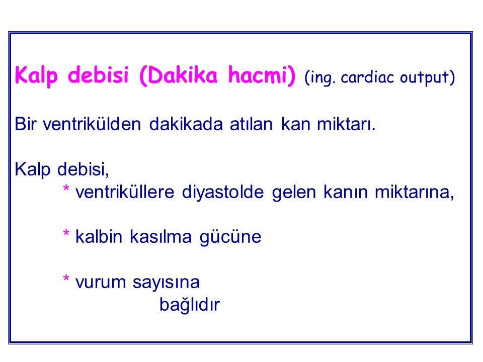 Kalp debisi (Dakika hacmi) (ing. cardiac output) Bir ventrikülden dakikada atılan kan miktarı. Kalp debisi, * ventriküllere diyastolde gelen kanın mik
