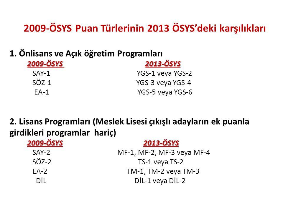 2009-ÖSYS Puan Türlerinin 2013 ÖSYS'deki karşılıkları 1. Önlisans ve Açık öğretim Programları 2009-ÖSYS 2013-ÖSYS 2009-ÖSYS 2013-ÖSYS SAY-1 YGS-1 veya