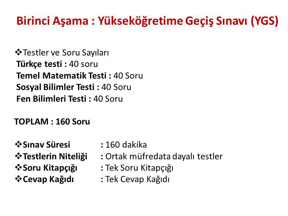 Birinci Aşama : Yükseköğretime Geçiş Sınavı (YGS)  Testler ve Soru Sayıları Türkçe testi : 40 soru Temel Matematik Testi : 40 Soru Sosyal Bilimler Te