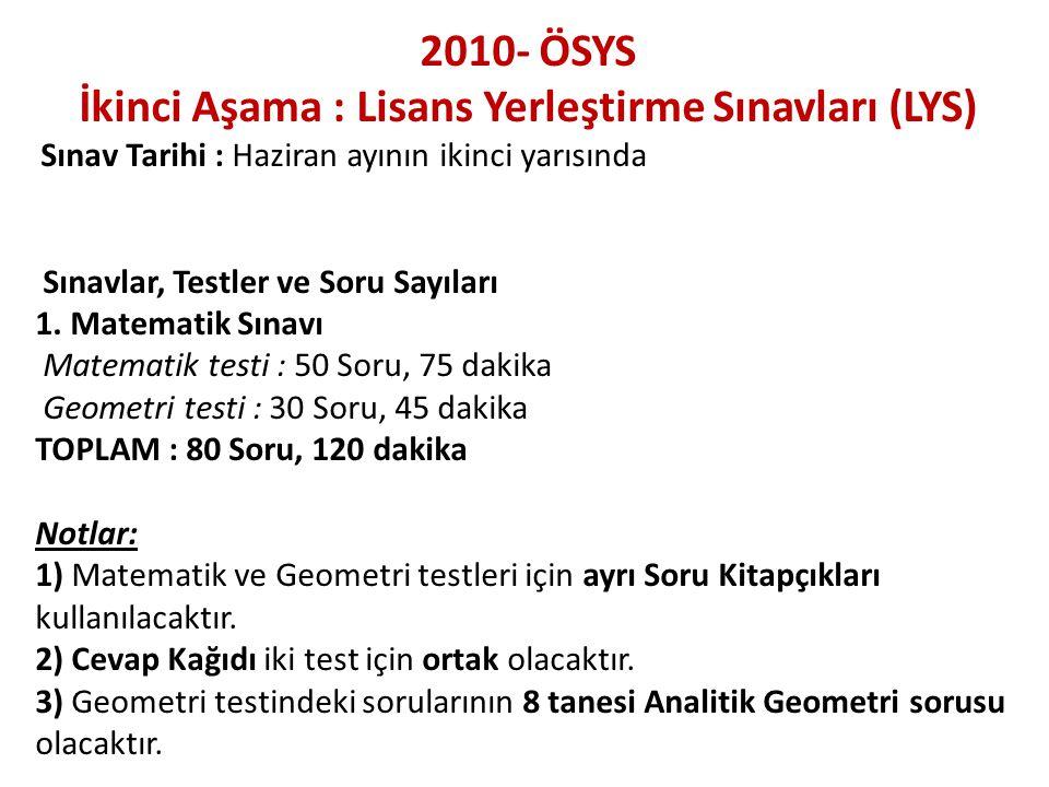 2010- ÖSYS İkinci Aşama : Lisans Yerleştirme Sınavları (LYS) Sınav Tarihi : Haziran ayının ikinci yarısında Sınavlar, Testler ve Soru Sayıları 1. Mate